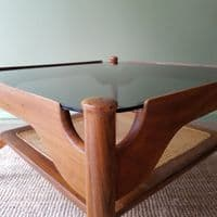 Smoked Glass and Cane Square Coffee Table